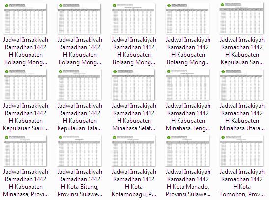 Kumpulan Jadwal Imsakiyah Ramadhan 1442 H Seluruh Kabupaten/Kota di Provinsi Sulawesi Utara