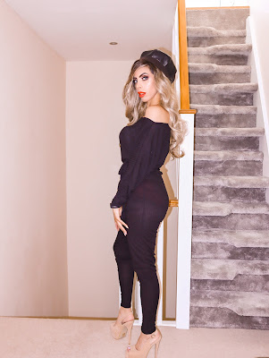 What is the best place to buy Loungewear The Femme Luxe Black Ribbed Off The Shoulder Loungewear Jumpsuit in model Harlow.