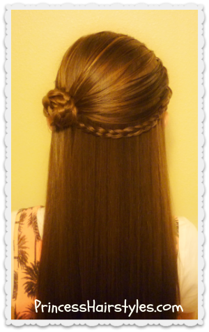 Pretty half up rosette braid and headband video tutorial