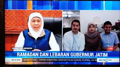 Gubernur Khofifah Ajak  Bersilaturrahmi Idul Fitri  Secara Online