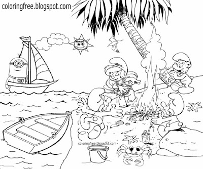 Sea beach digging miner cartoon Smurf drawing Smurfette Greedy eating big kids Smurfs coloring pages