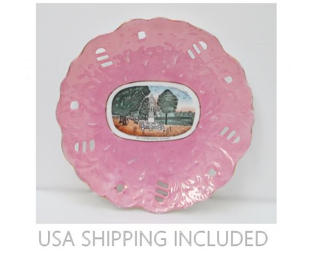 Antique Pink Lustre Porcelain Souvenir Plate, John Bunyan Statue England