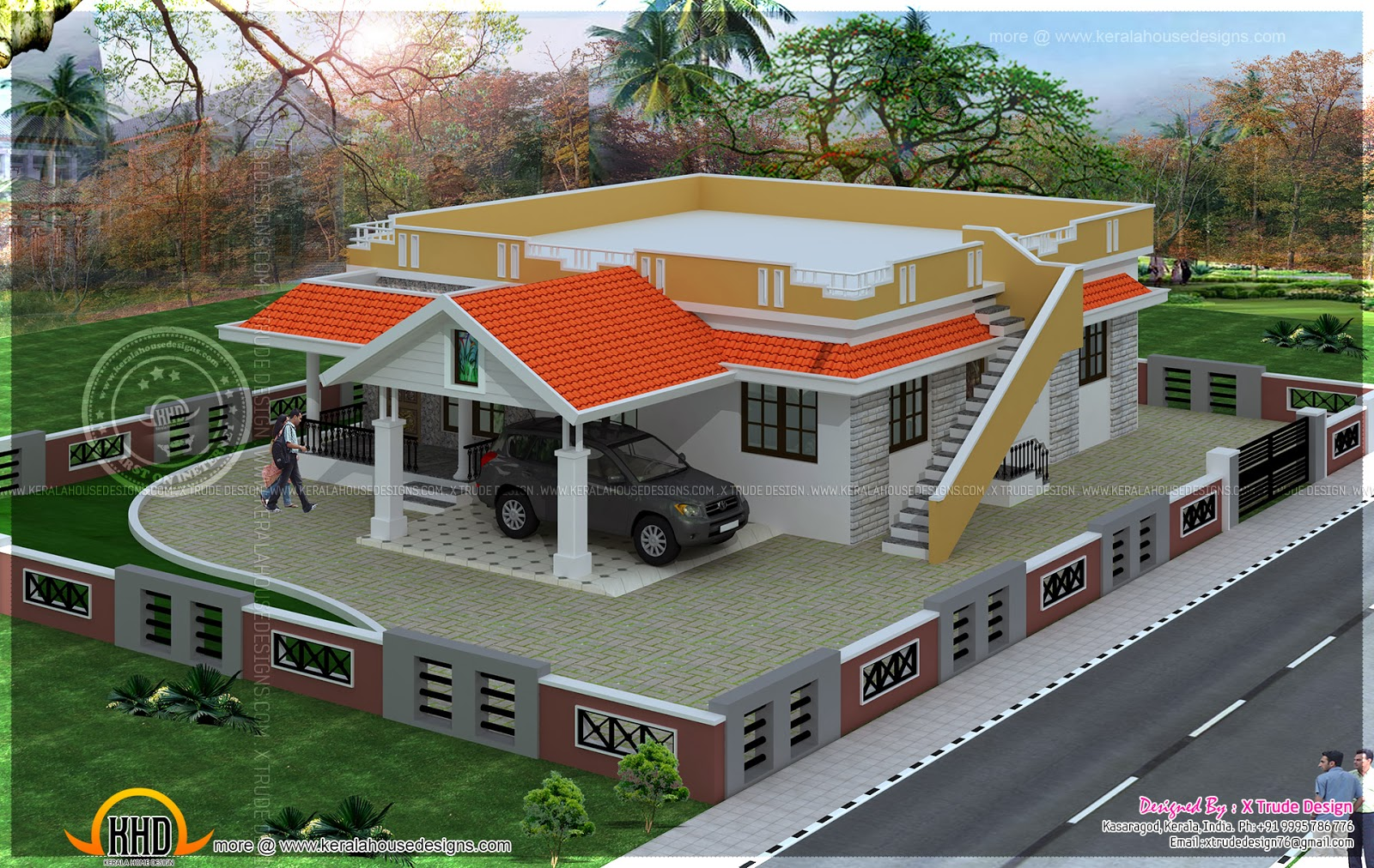 Single floor 2 bedroom house elevation kerala home for 2 level house