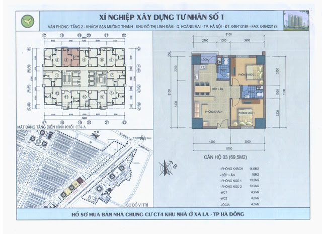 Vị trí thiết kế căn hộ trên toàn thể mặt bằng tòa nhà chung cư CT4B Xa La - Hà Đông