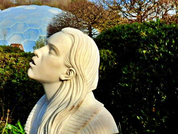 Marble Statue and Water Fountain of Rebecca at Eden Project, Cornwall