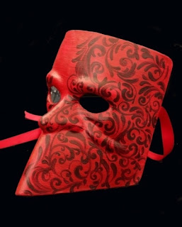 Gentlemen: capture the intrigue of the ball in this Bauta Mask in scarlet red.