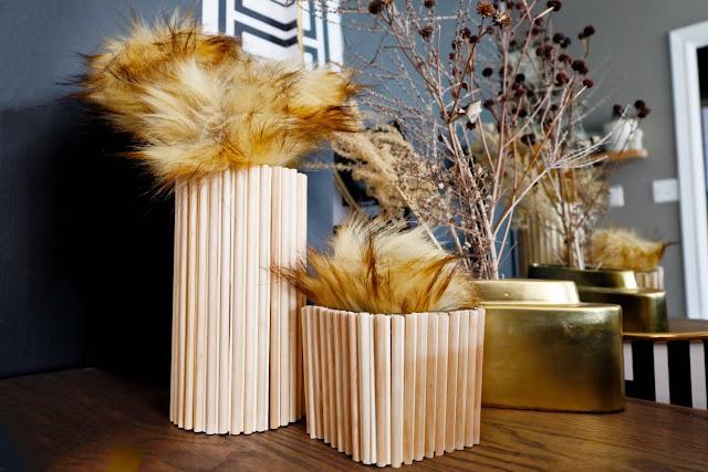 dollar store wood dowel vases diy