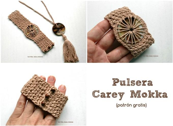 Con hilos, lanas y botones: pulsera de ganchillo con botón (patrón gratis)