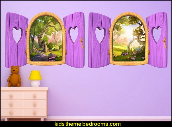 Pink Heart Window Wall Decals  snow white bedroom wall decoration ideas