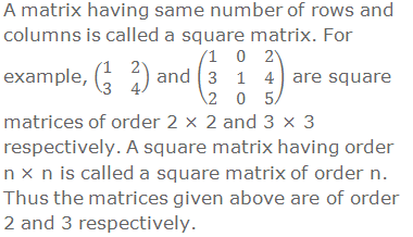 A matrix having same number of rows and columns is called a square matrix. For example, (■(1&2@3&4)) and (■(1&0&2@3&1&4@2&0&5)) are square matrices of order 2 × 2 and 3 × 3 respectively. A square matrix having order n × n is called a square matrix of order n. Thus the matrices given above are of order 2 and 3 respectively.