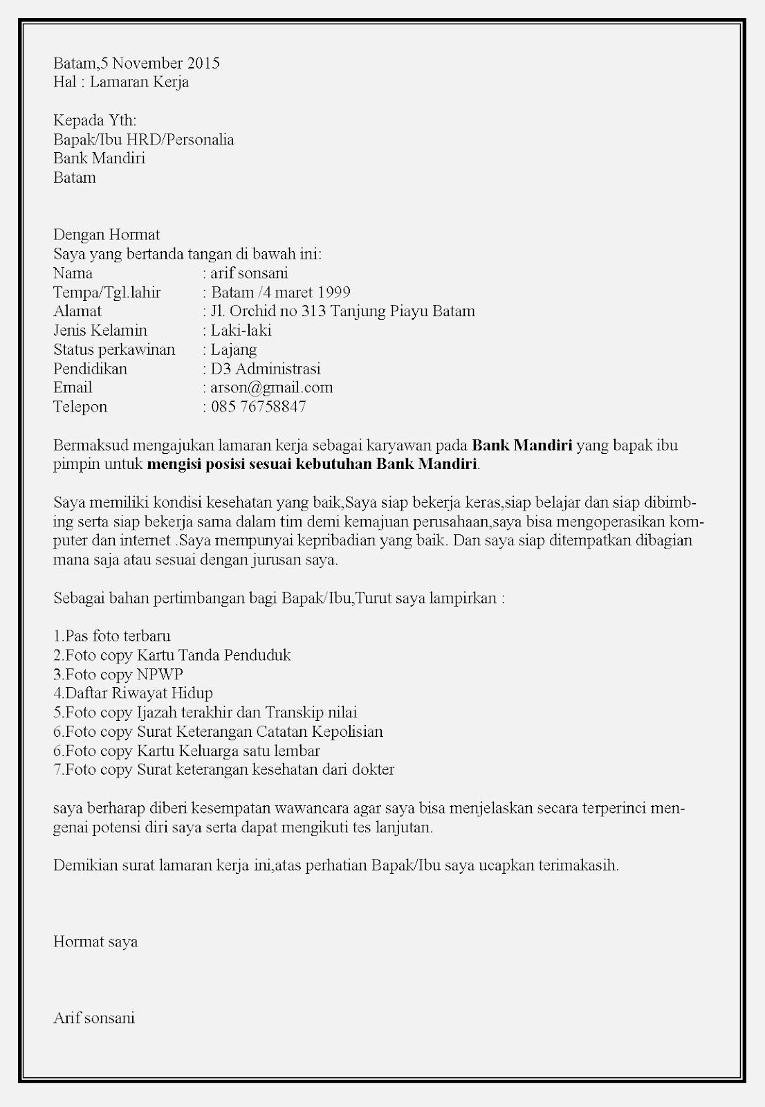 Contoh surat lamaran kerja bank mandiri atas inisiatif sendiri