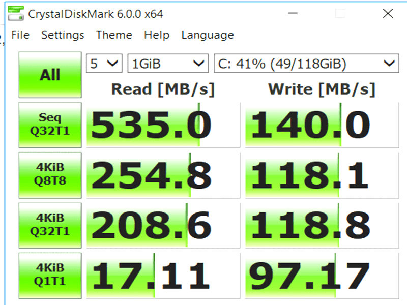 Decent read speeds but the writes speeds could be improved