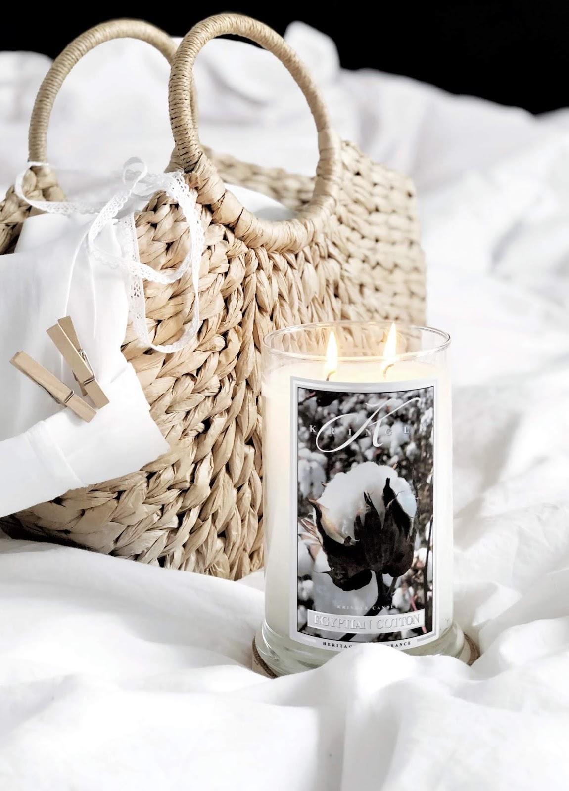 Zapach świeżego prania w dwóch odsłonach Kringle Candle: Egyptian Cotton i Warm Cotton