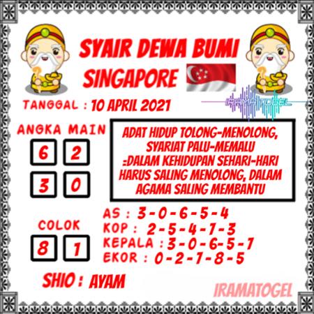 Syair Dewa Bumi SGP Sabtu 10 April 2021
