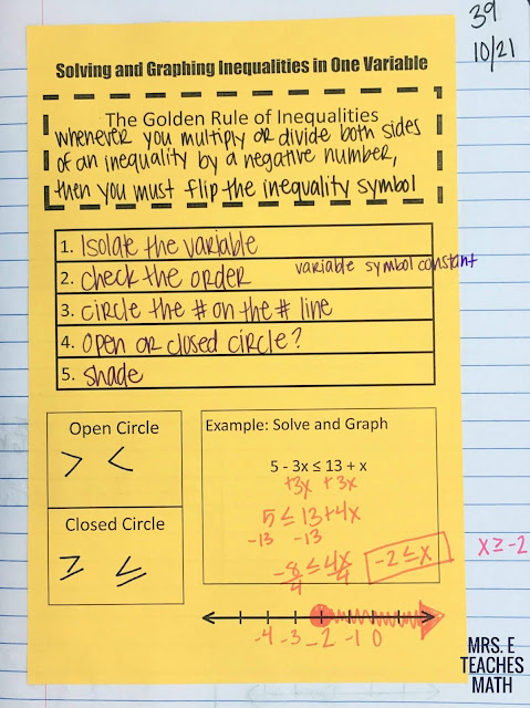 Solving and Graphing Inequalities in One Variable Interactive Notebook Page