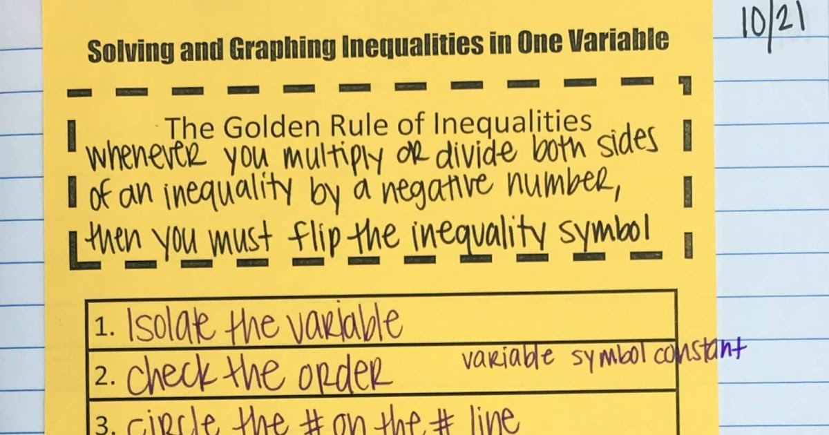 One Variable Inequalities Inb Pages Mrs E Teaches Math