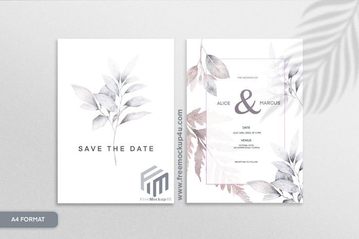 Double Sided Floral Wedding Invitation With Grey Flower White Background