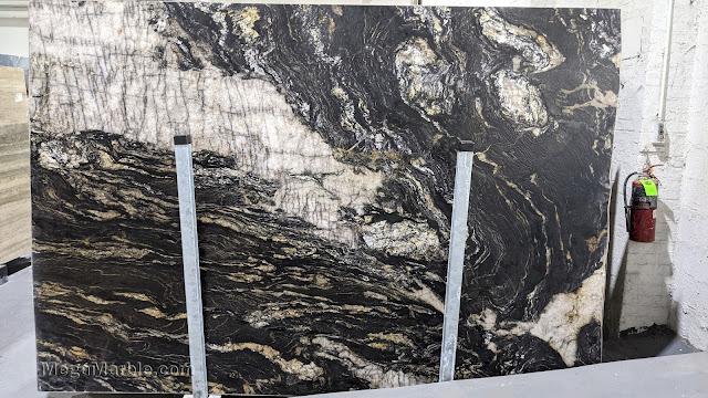 Black Leathered Granite Slab
