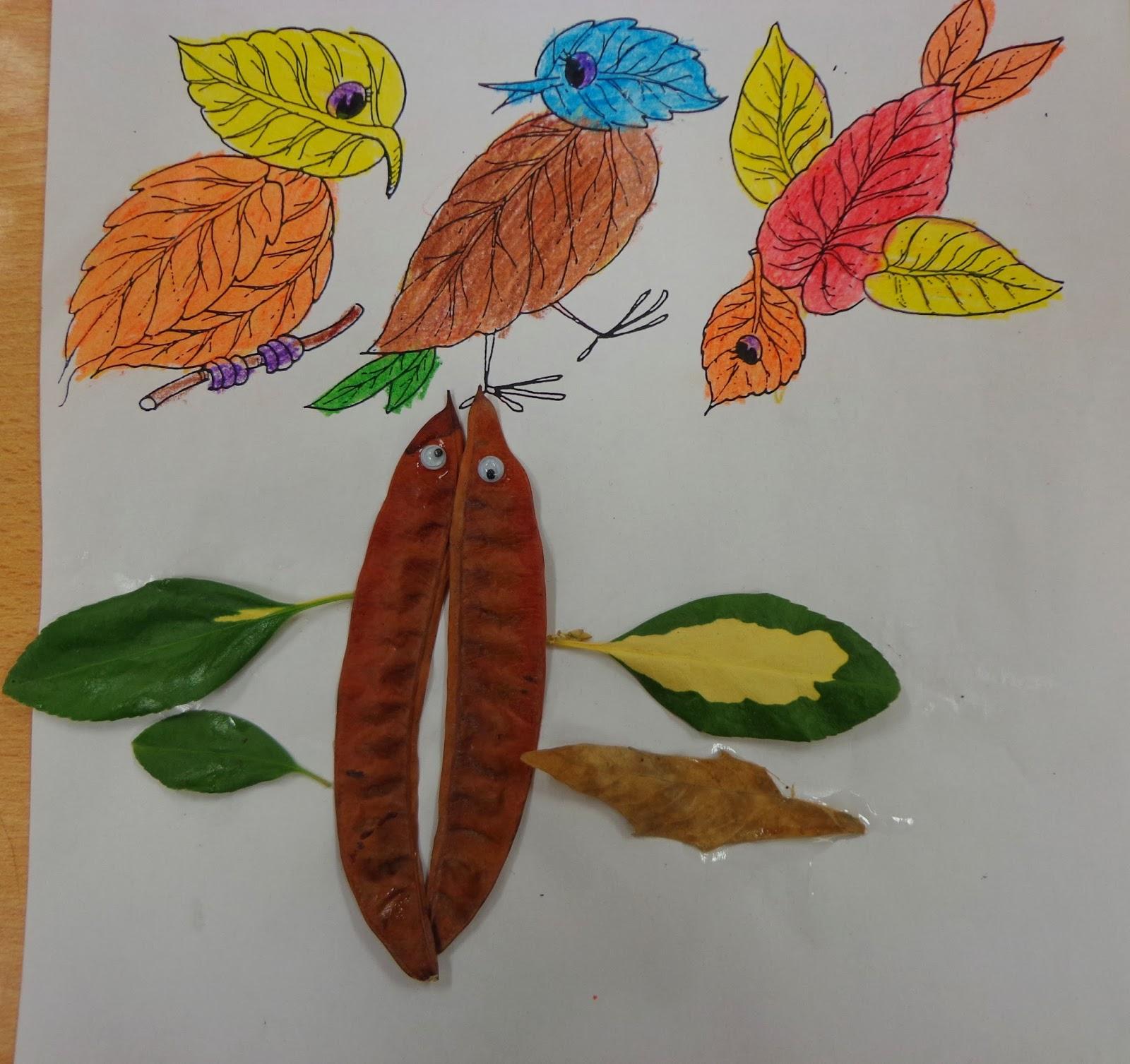Reuse Crafts Dry Leaf Collage