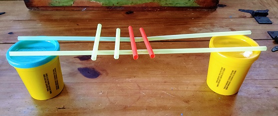 STEM activity. Build a bridge using only drinking straws and tape. Must be capable of bearing a reasonable amount of weight.