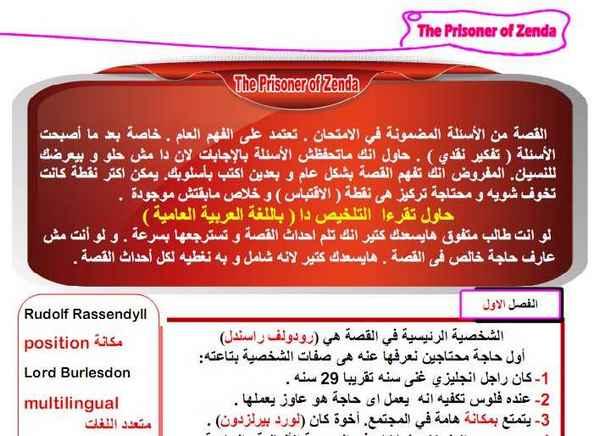 مراجعة قصة سجين زندا The Prisoner of Zenda باللغة العربية للصف الثالث الثانوى 2020