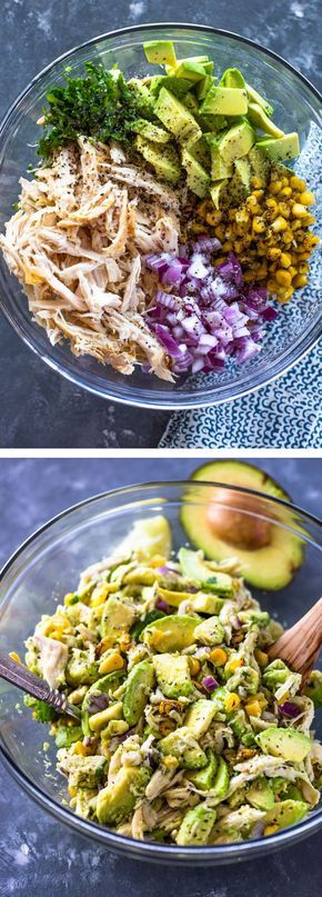 HEALTHY AVOCADO CHICKEN SALAD #healthyfood #healthyrecipes #avocado #chicken #chickenrecipes #salad