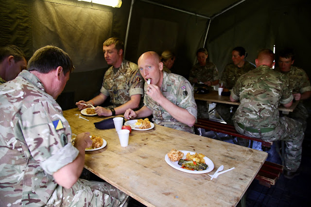 lunch in the mess tent, 167 catering corps, Prince William of Gloucester barracks pic: Kerstin Rodgers/msmarmitelover.com