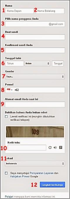 Kolom Pendaftaran Akun Gmail