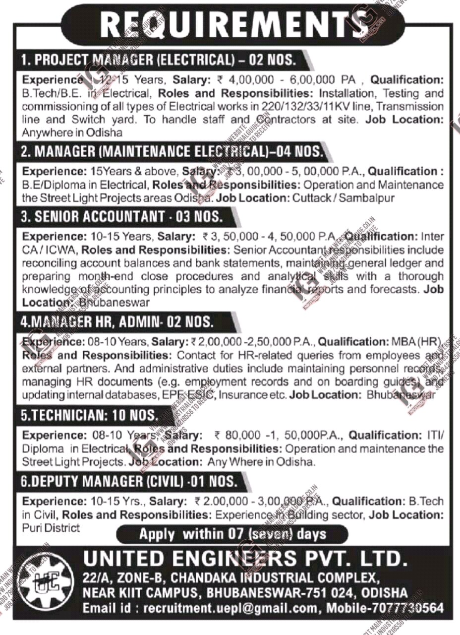 United Engineering jobs for Project Manager Maintanance Admin Accountant Technicians Civil Engineer