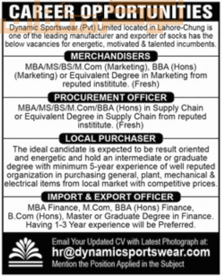 private,dynamic sportswear pvt. limited lahore,merchandisers, procurement officer, local purchaser, import & export officer,latest jobs,last date,requirements,application form,how to apply, jobs 2021,