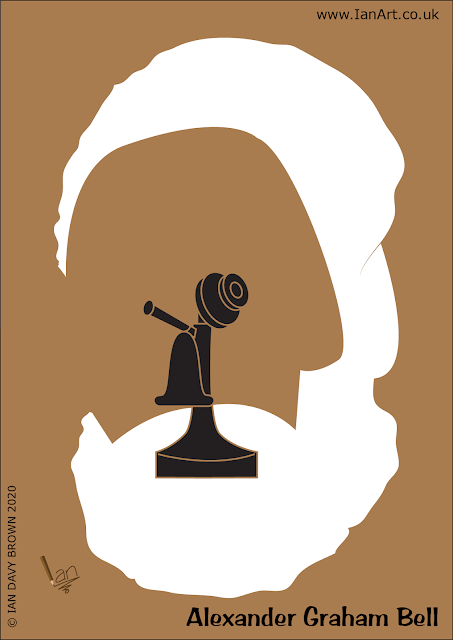 Alexander Graham Bell Symbolic Caricature cartoon