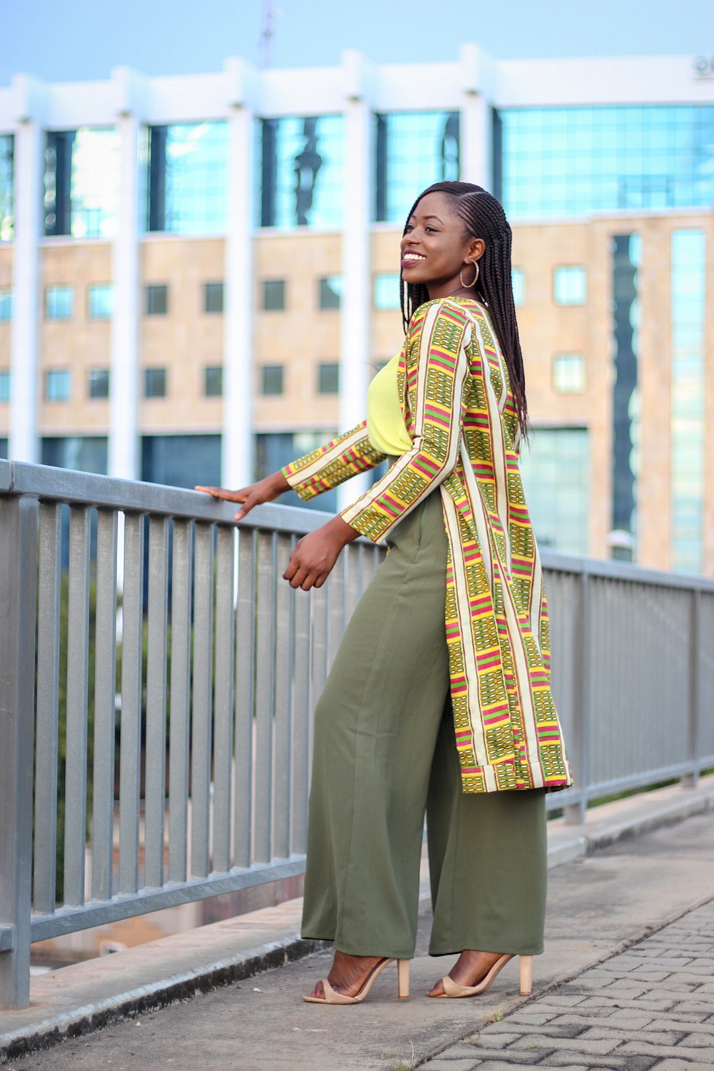 African print style and a kente print jacket
