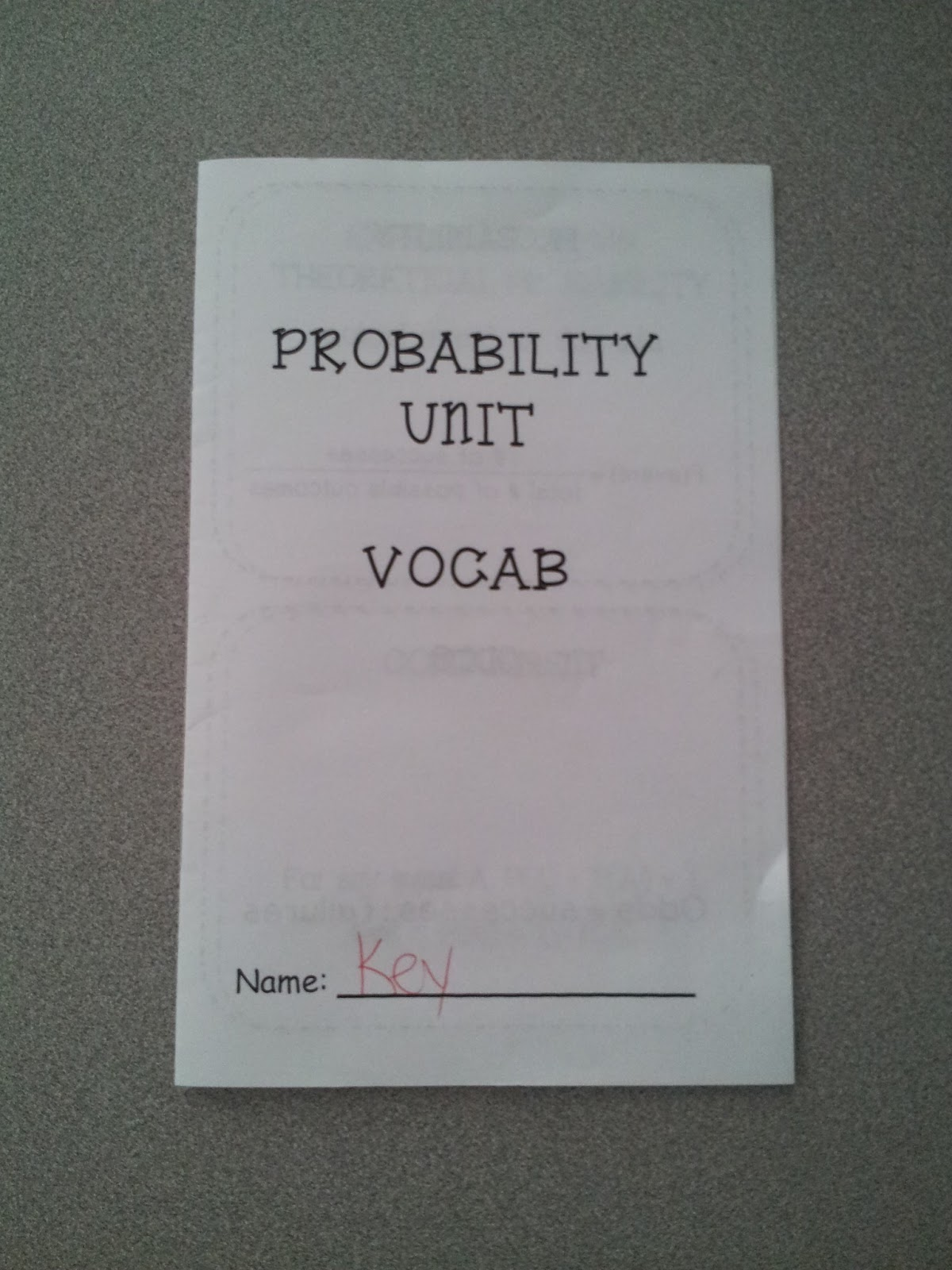 Math By Tori Probability Vocabulary Foldable
