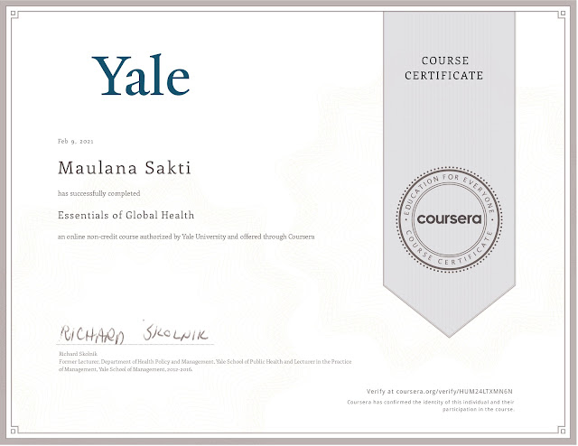 Sertifikat Essentials of Global Health Course dari Coursera