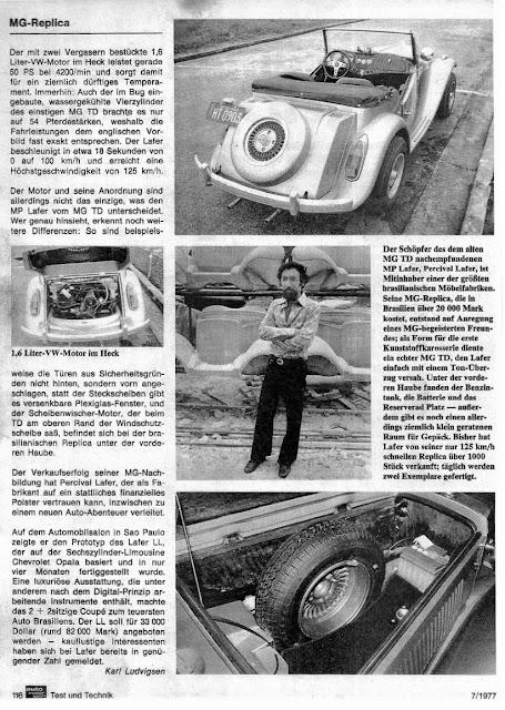 Página 116 digitalizada da revista alemã Auto Motor und Sport em sua edição de julho de 1977. Clique na imagem para ampliar.