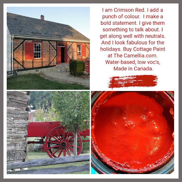 collage of crimson red Cottage Paint, www.thecamellia.com