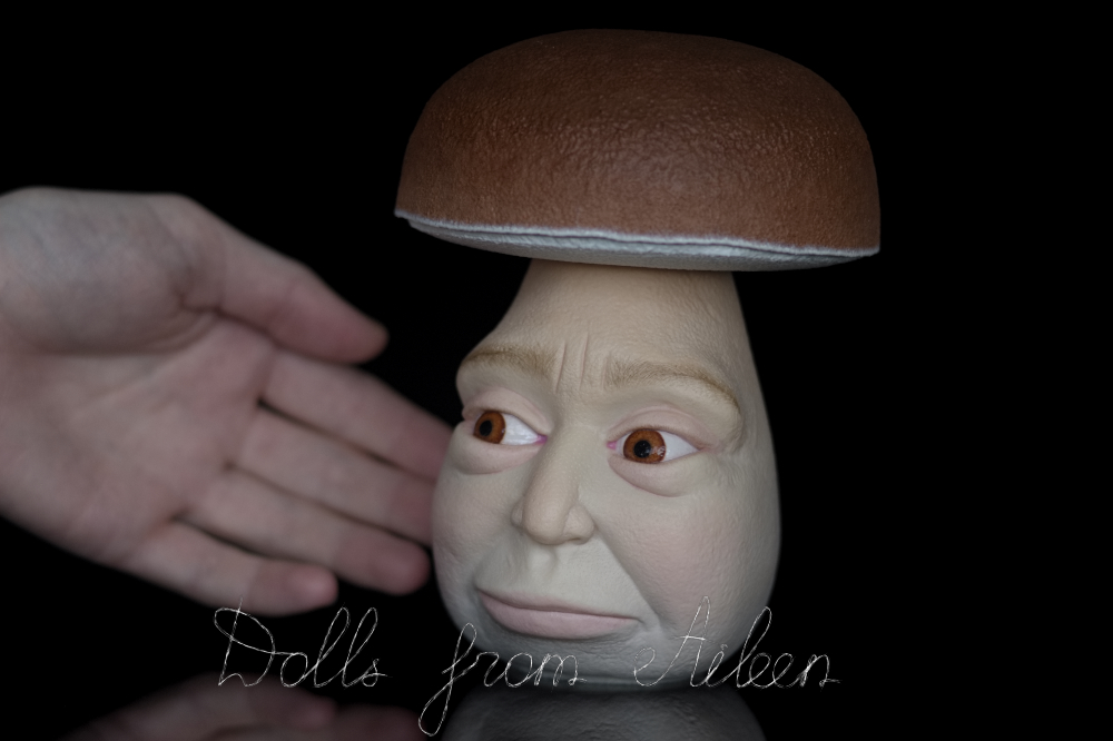 OOAK clay enchanted mushroom sculpture with human hand