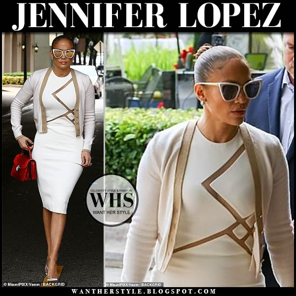 Jennifer Lopez in white david koma pencil dress, white cardigan and transparent pumps jessica rich. celebrity style december 12