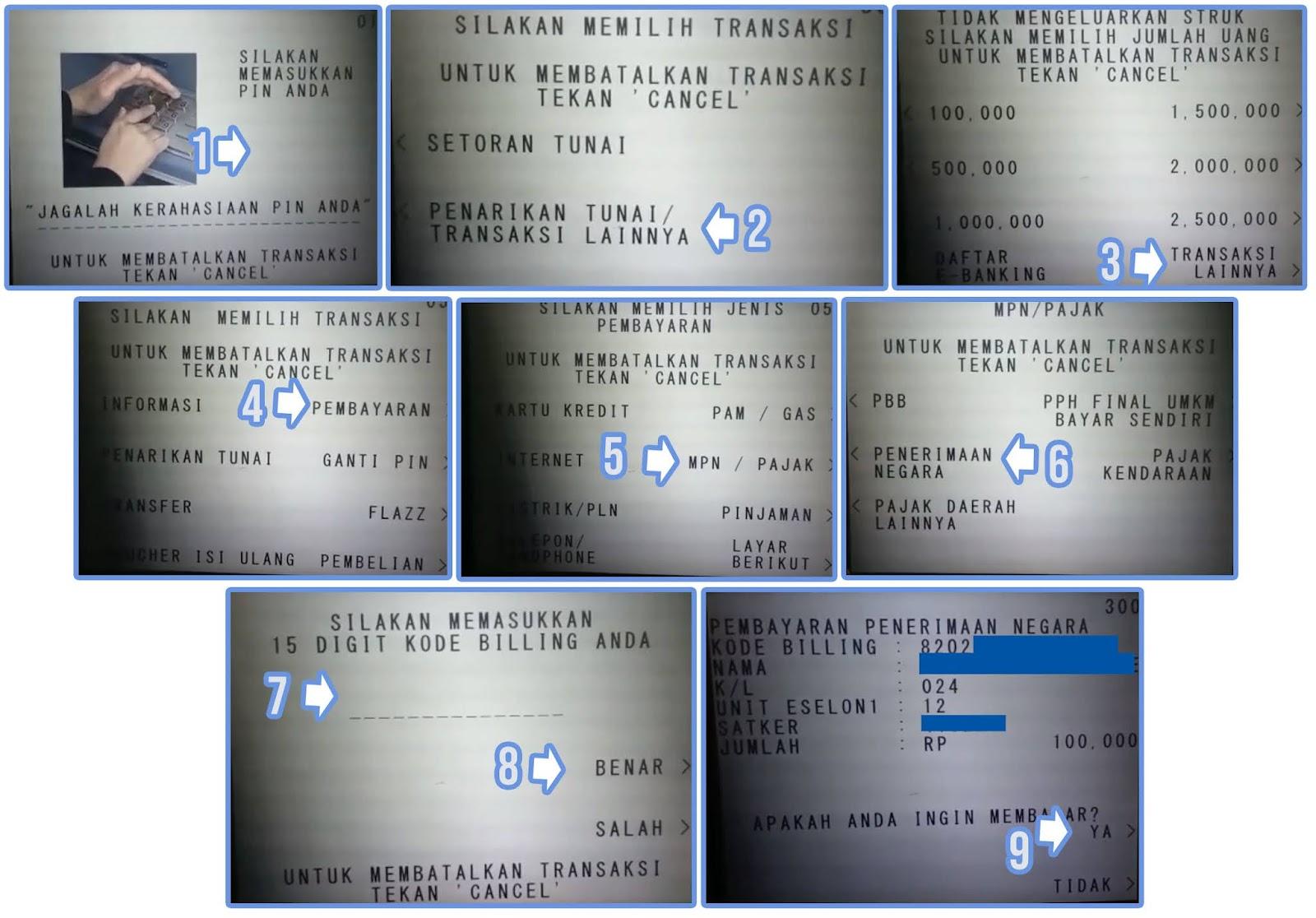 Cara Bayar Kode Billing STR Lewat ATM BCA