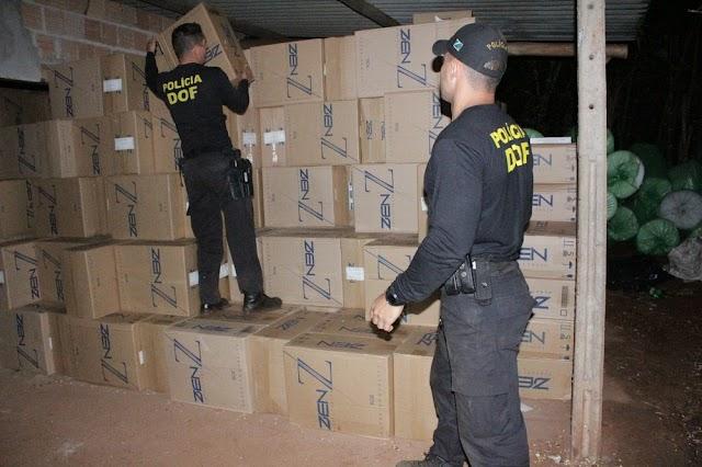 Cinco são presos em depósito que estocava 32 mil pacotes de cigarros do Paraguai em MS