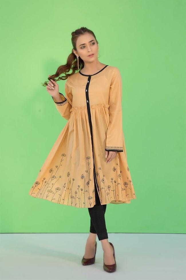 Warda Lawn shirt Yellow Block printed