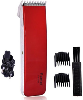 Kemei KM-518A Cordless Trimmer for Men (Red), trimmer