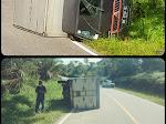 breaking News!! Elakkan Pengendara Motor Mobil Box Sembakau Terjungkil Balik