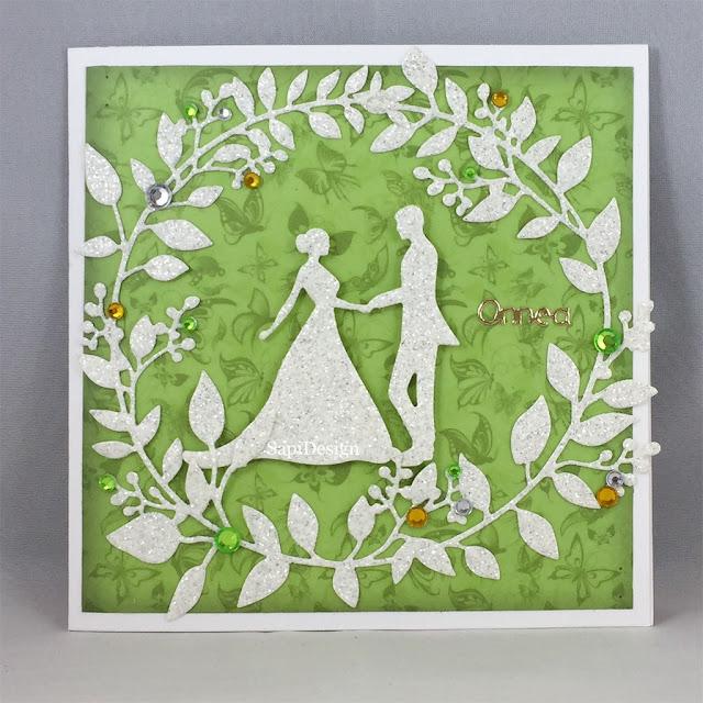 wedding card green floral fauna couple SapiDesign