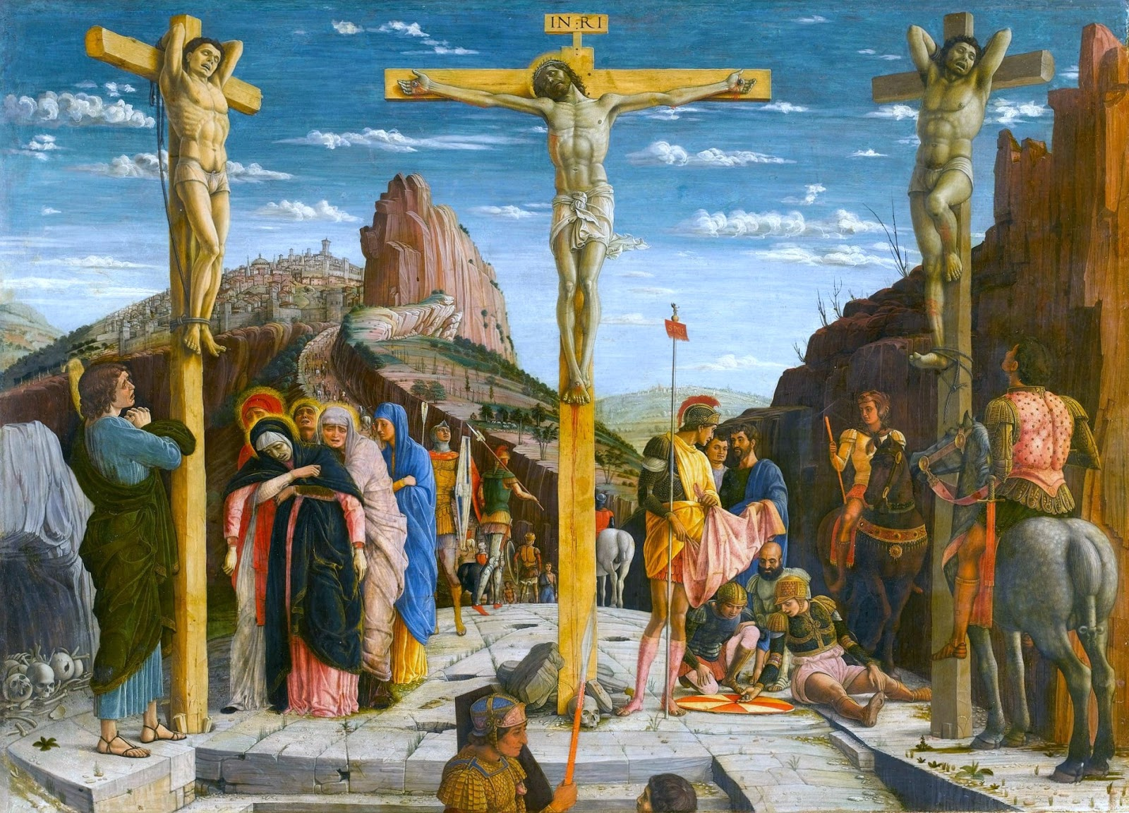 Crucifixion by Andrea Mantegna, a painting that depicts the death of Jesus Christ on a cross.