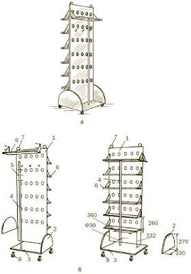 Чертеж, схема сборки стеллажа для прихожей на колесиках