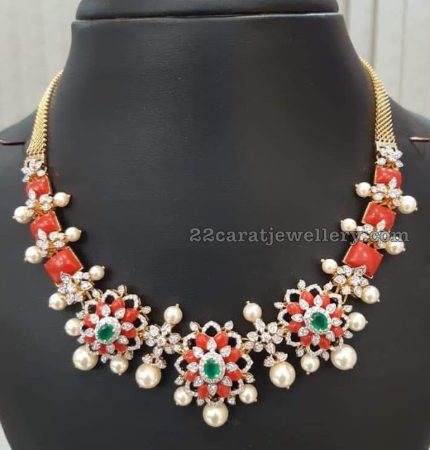 Coral Necklace with Diamonds