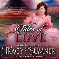 Tides of Love audiobook cover. A Pretty girl in a pink dress on rocks by the sea.