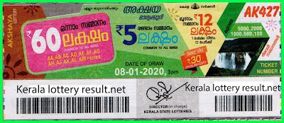 Kerala Lottery Result 08-01-2020 Akshaya AK-427 (keralalotteryresult.net)