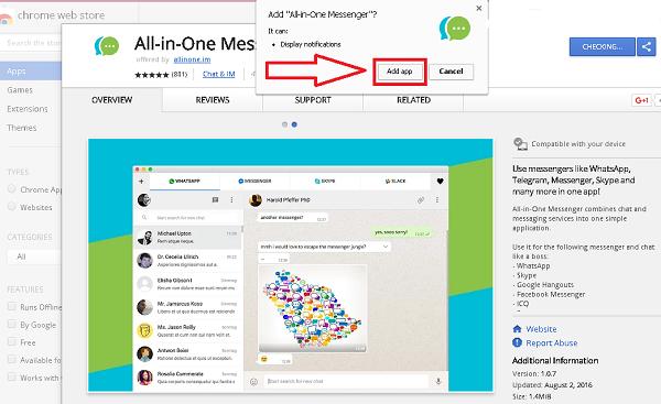 فتح جميع تطبيقات الدردشة على المتصفح مع إضافة All in One Messenger